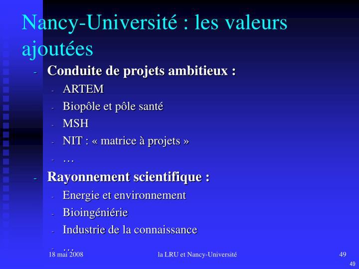 Nancy-Université : les valeurs ajoutées