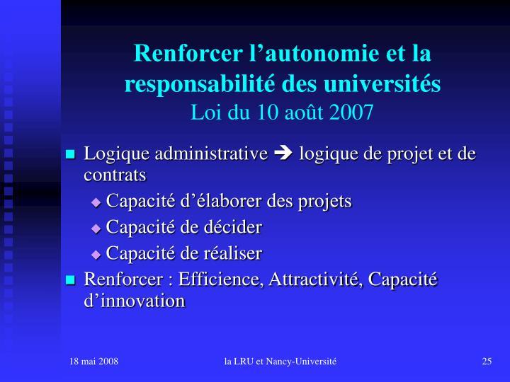 Renforcer l'autonomie et la responsabilité des universités