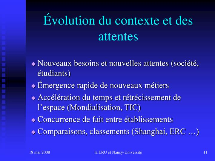 Évolution du contexte et des attentes