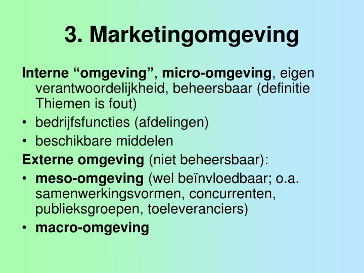 3 marketingomgeving