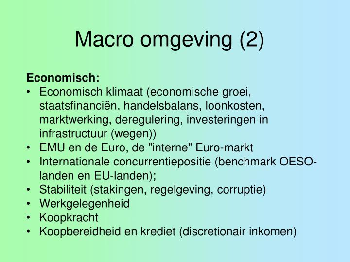 Macro omgeving (2)