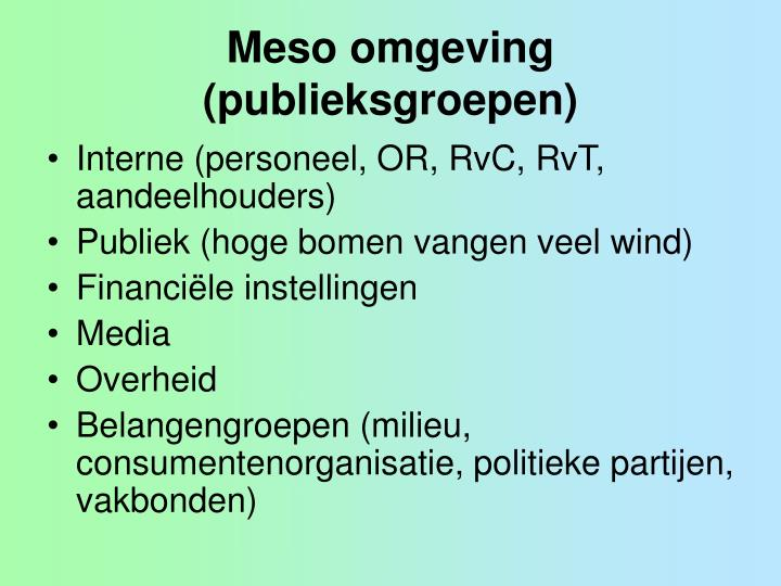 Meso omgeving (publieksgroepen)