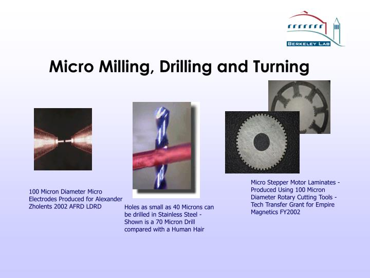 Micro milling drilling and turning