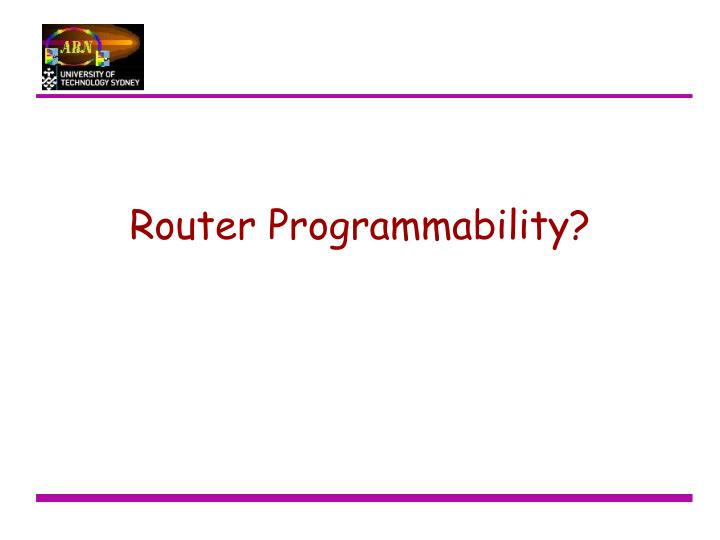 Router Programmability?