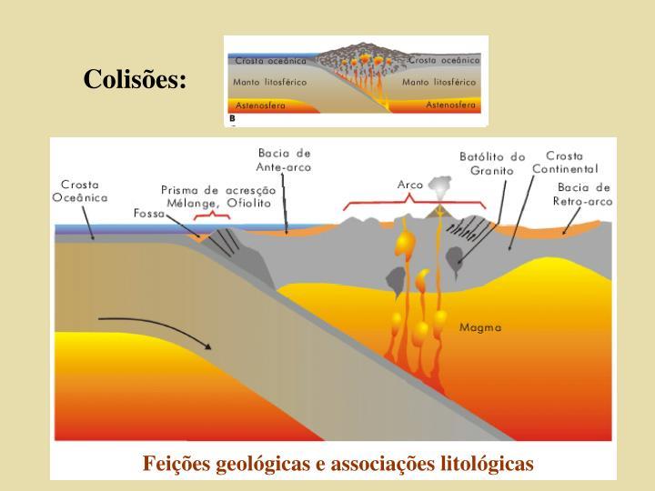 Feições geológicas e associações litológicas