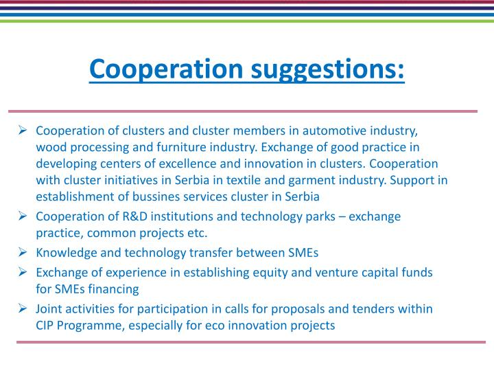 Cooperation suggestions:
