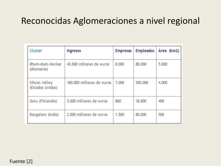 Reconocidas Aglomeraciones a nivel regional
