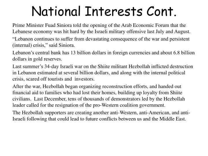 National Interests Cont.