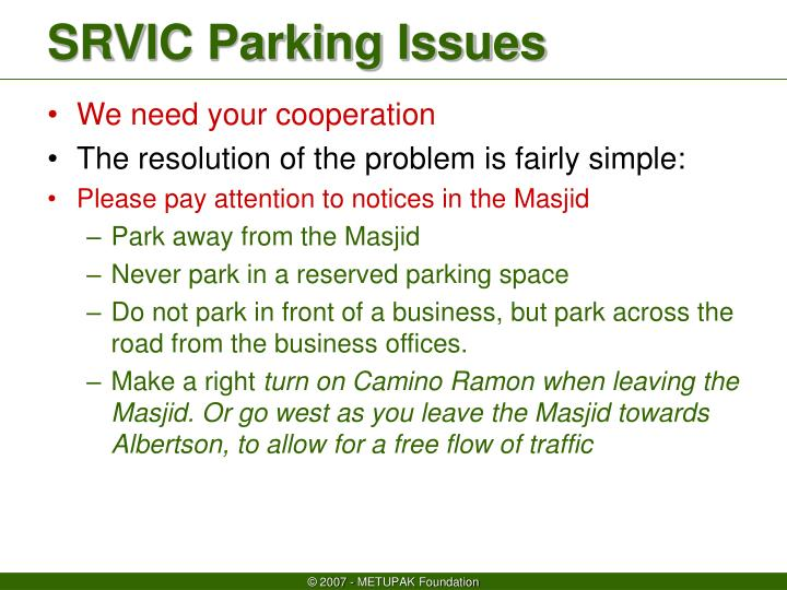 Srvic parking issues1