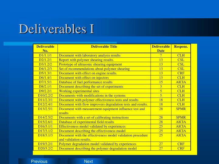 Deliverables I