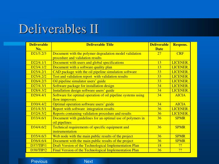 Deliverables II