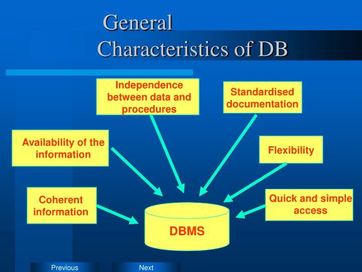 General Characteristics of DB