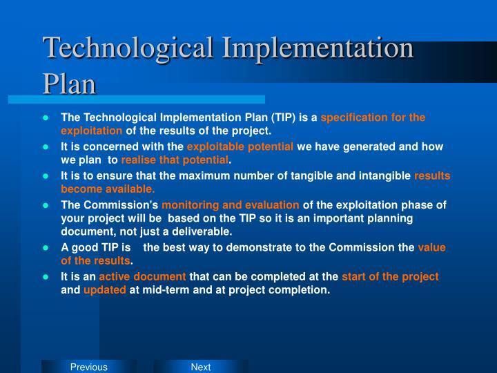 Technological Implementation Plan