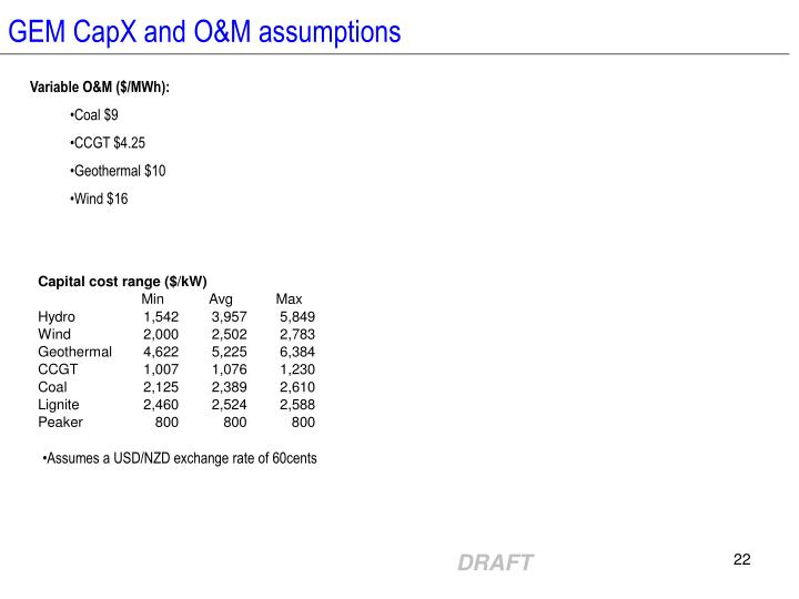 GEM CapX and O&M assumptions