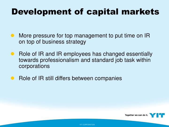 Development of capital markets