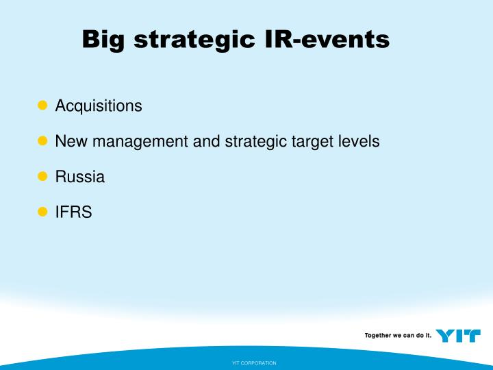 Big strategic IR-events