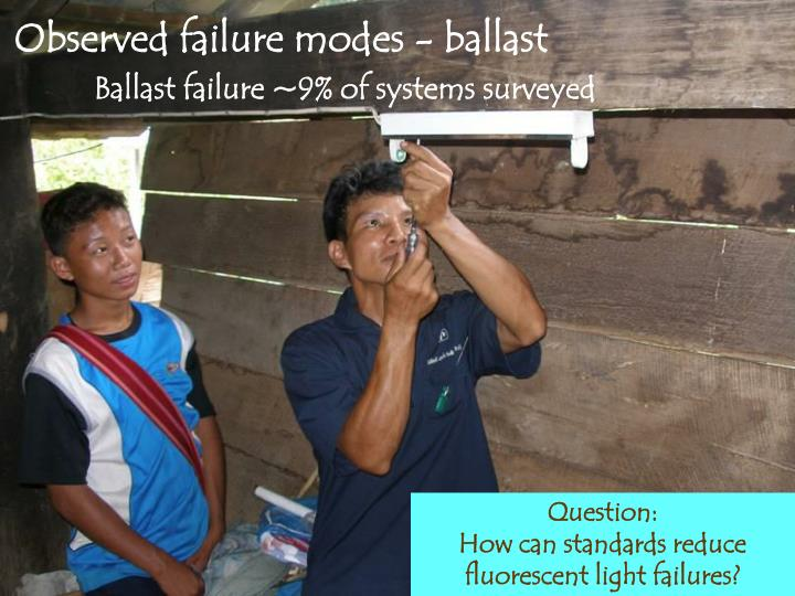 Observed failure modes - ballast