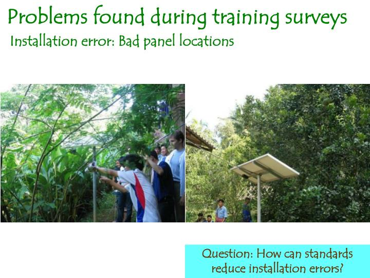 Problems found during training surveys