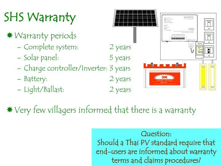 SHS Warranty