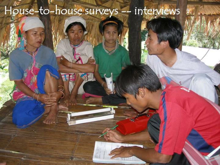 House-to-house surveys -- interviews