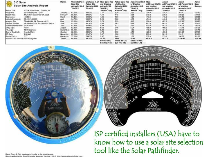ISP certified installers (USA) have to know how to use a solar site selection tool like the Solar Pathfinder.