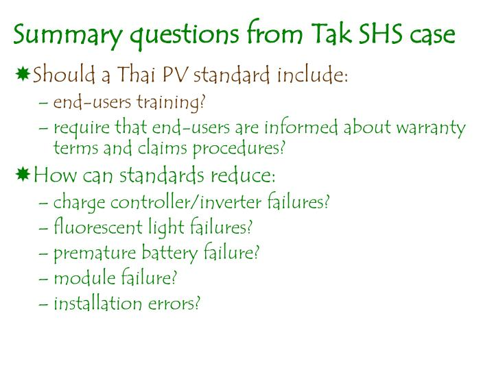 Summary questions from Tak SHS case