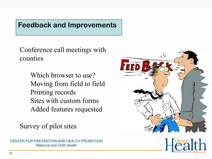 Feedback and Improvements