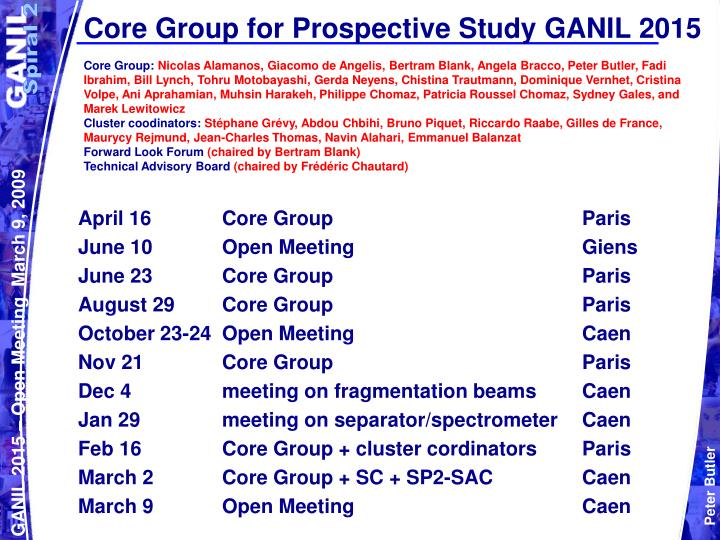 Core group for prospective study ganil 2015