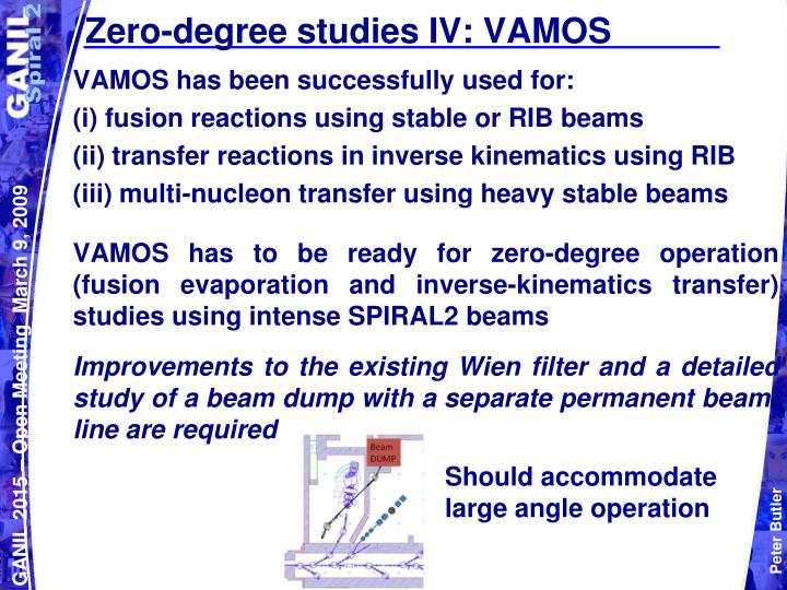 Zero-degree studies IV: VAMOS