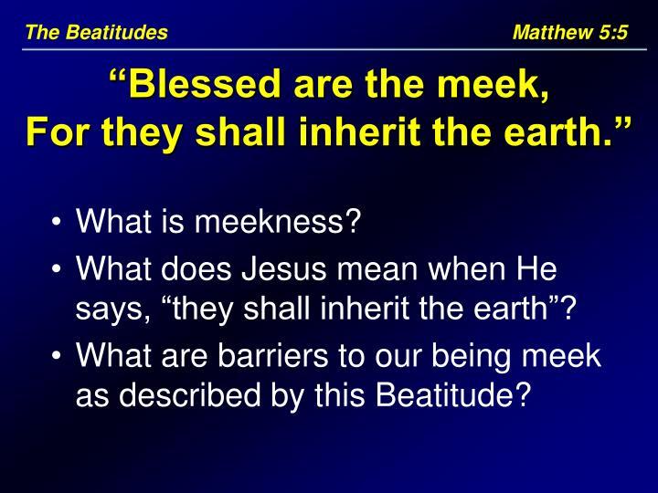 The Beatitudes     Matthew 5:5