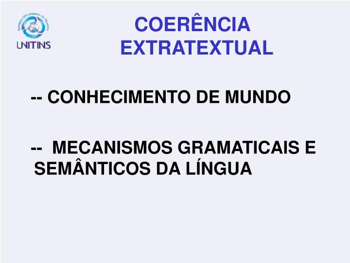 -- CONHECIMENTO DE MUNDO