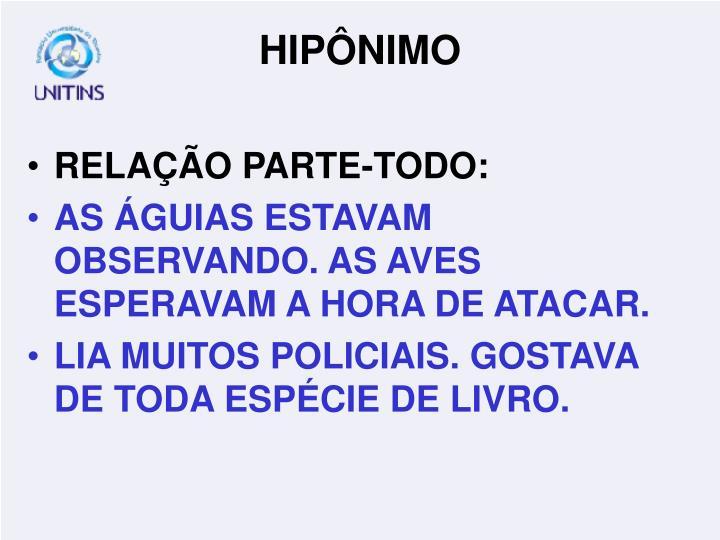 RELAÇÃO PARTE-TODO: