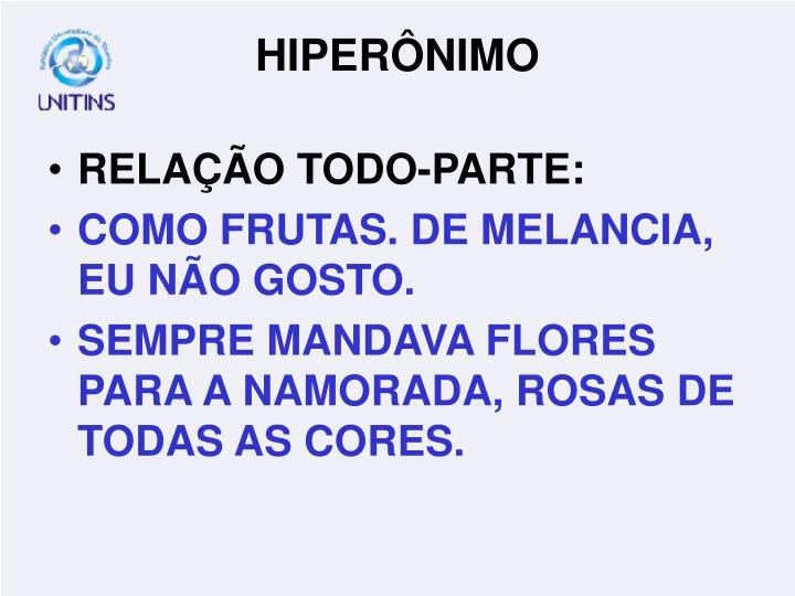 RELAÇÃO TODO-PARTE: