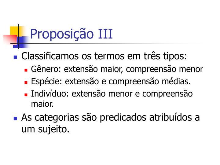 Proposição III