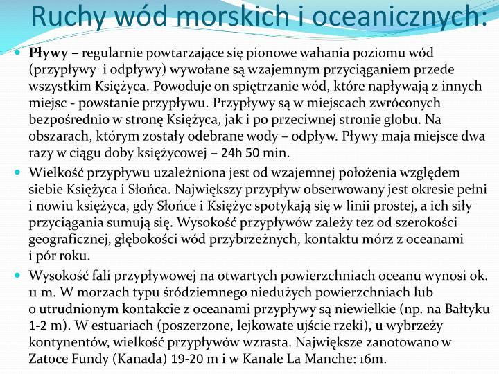 Ruchy wód morskich i oceanicznych: