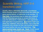 scientific writing hrp 214 transitions used