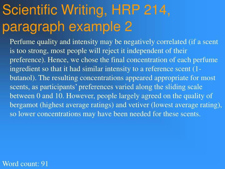 Scientific Writing, HRP 214, paragraph example 2