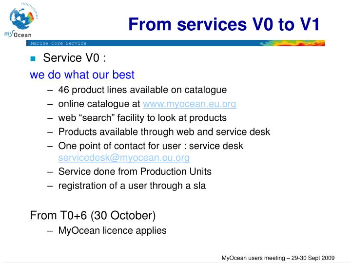 From services V0 to V1