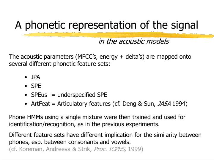 A phonetic representation of the signal