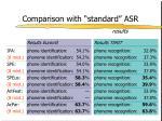 comparison with standard asr