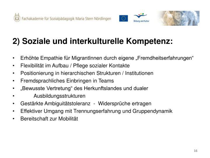 2) Soziale und interkulturelle Kompetenz: