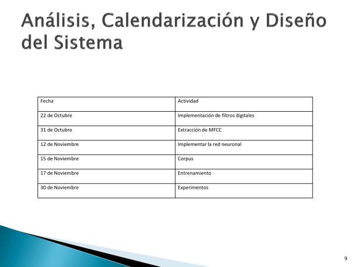 Análisis, Calendarización y Diseño del Sistema