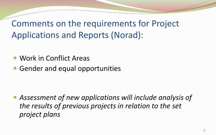 Comments on the requirements for Project Applications and