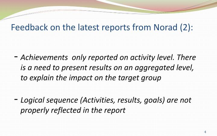 Feedback on the latest reports from