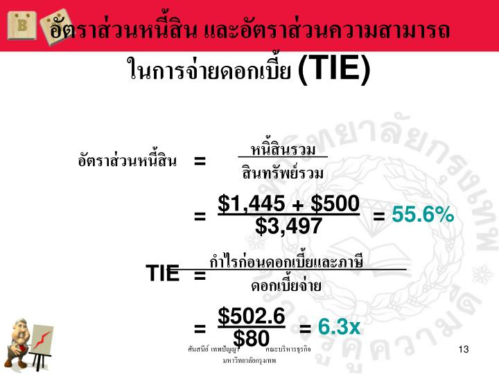 อัตราส่วนหนี้สิน และอัตราส่วนความสามารถในการจ่ายดอกเบี้ย