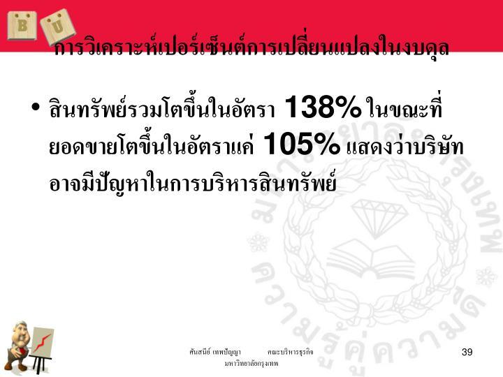 การวิเคราะห์เปอร์เซ็นต์การเปลี่ยนแปลงในงบดุล