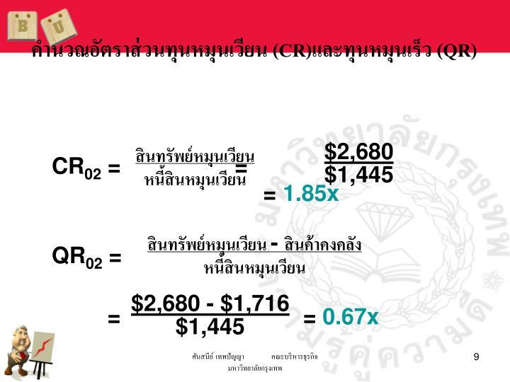 คำนวณอัตราส่วนทุนหมุนเวียน