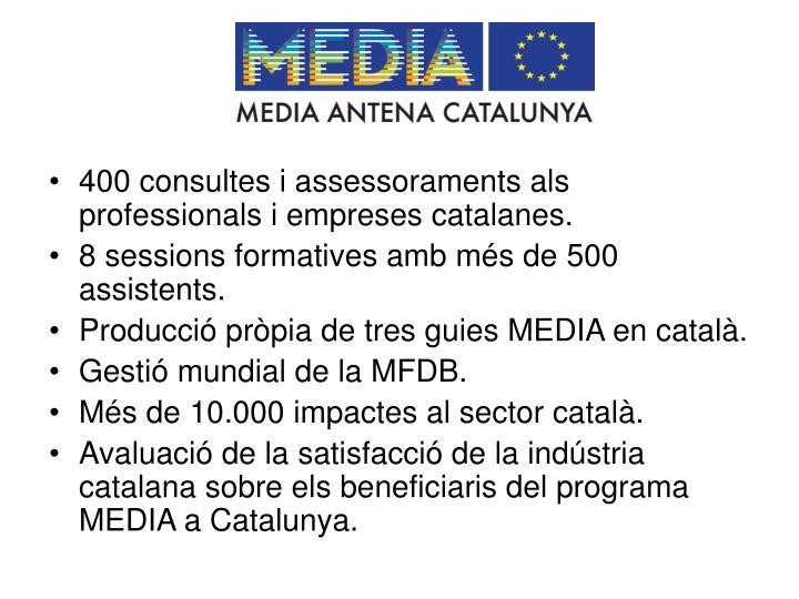 400 consultes i assessoraments als professionals i empreses catalanes.