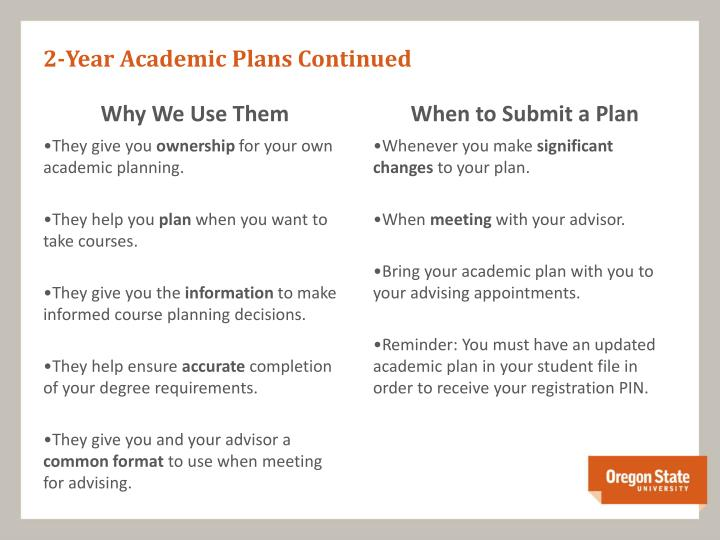 2 year academic plans continued