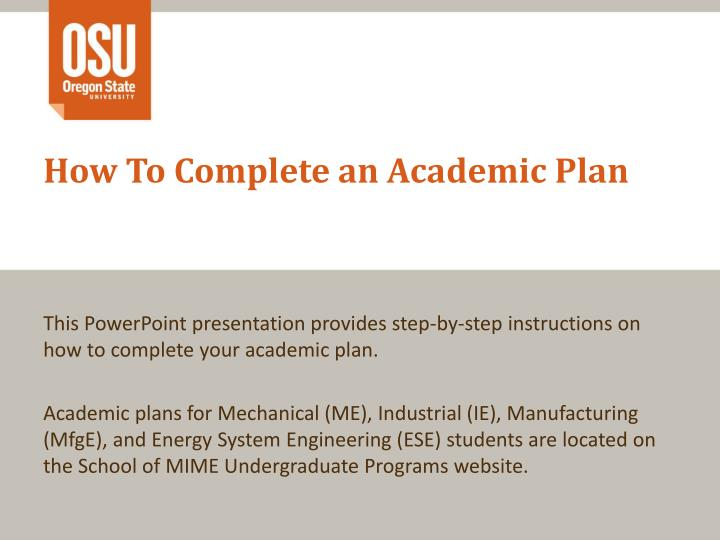 How to complete an academic plan